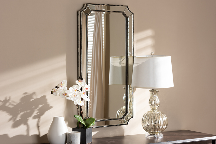 Romina Antique Silver Accent Wall Mirror   Baxton Studio