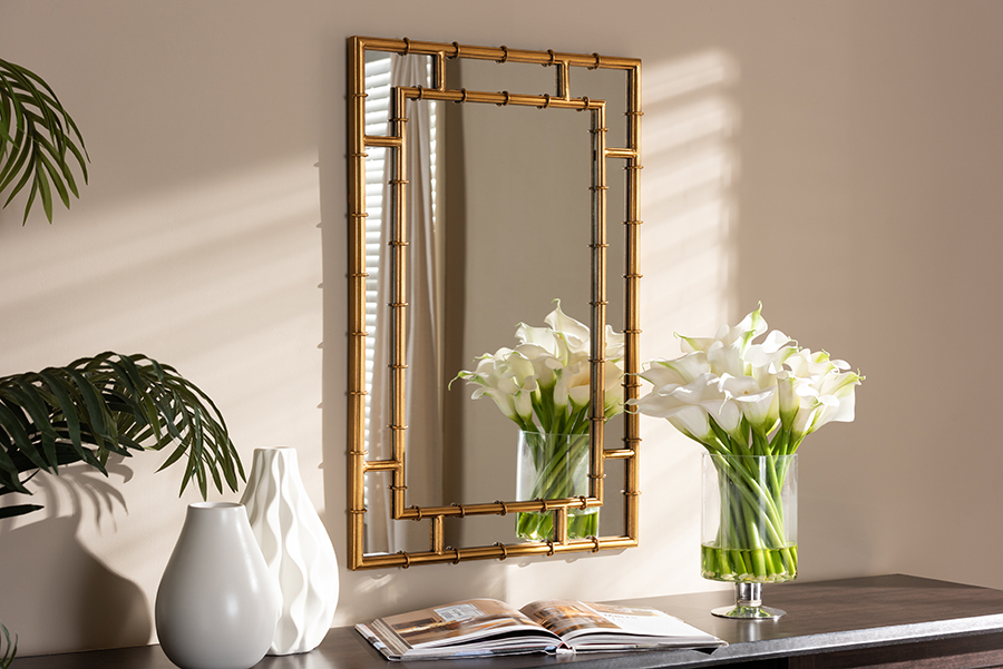 Adra Gold Bamboo Accent Wall Mirror | Baxton Studio