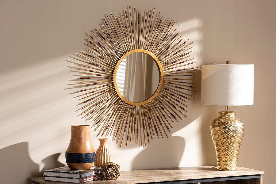Apollonia Gold Sunburst Accent Wall Mirror | Baxton Studio