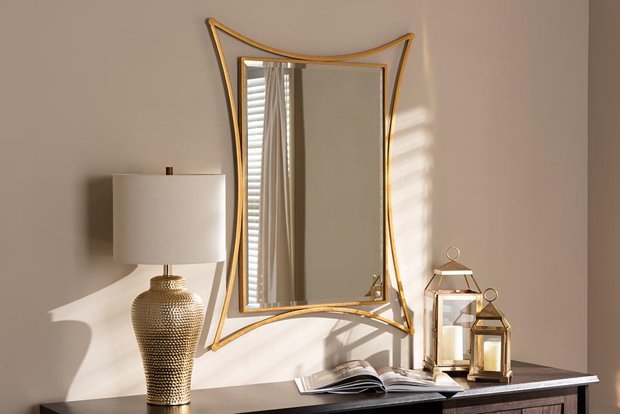 Melia Antique Gold Rectangular Accent Wall Mirror   Baxton Studio