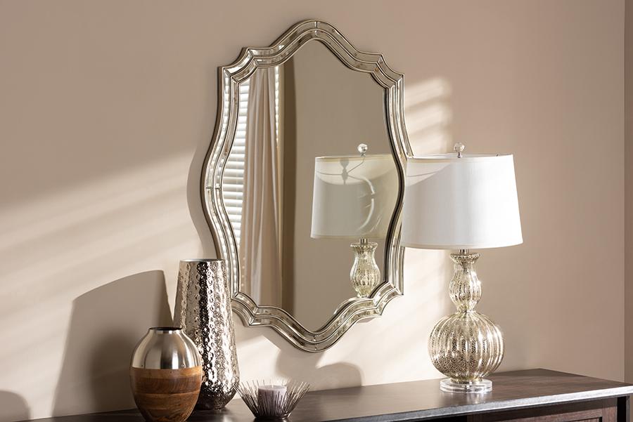 Isidora Antique Silver Accent Wall Mirror   Baxton Studio