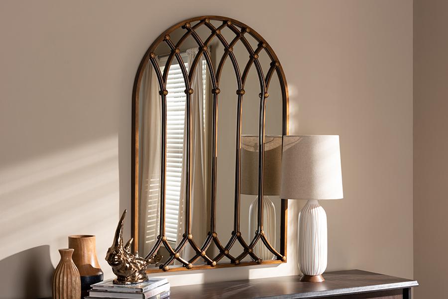 Freja Antique Bronze Window Accent Wall Mirror   Baxton Studio