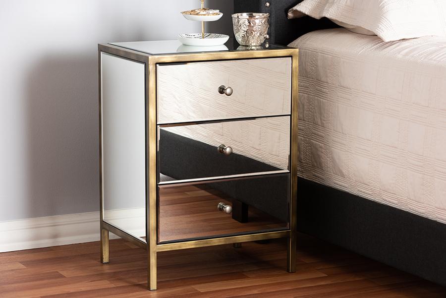 Nouria Mirrored Three Drawer Nightstand Bedside Table | Baxton Studio