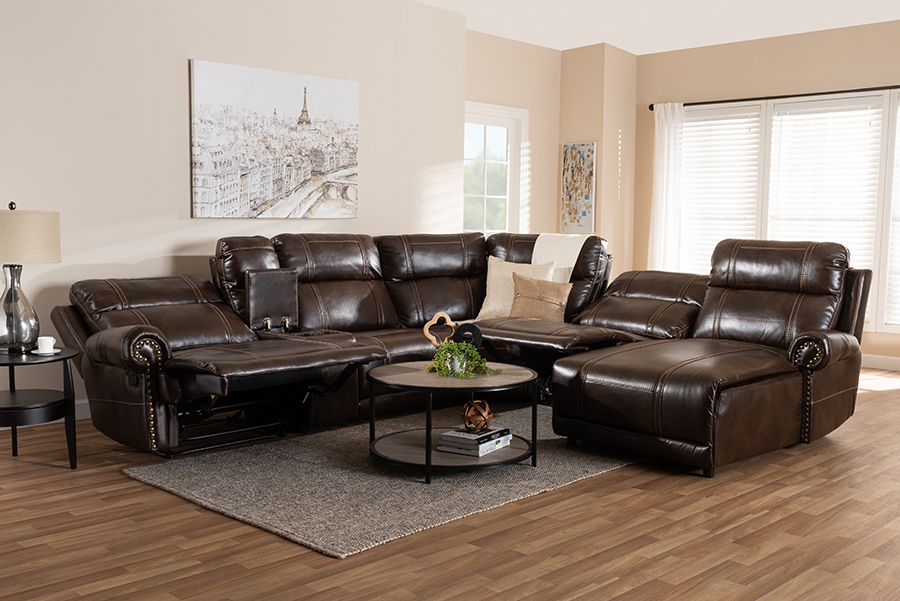 Dacio Brown Faux Leather 6-pc Sectional Recliner Sofa with 2 Reclining Seats | Baxton Studio
