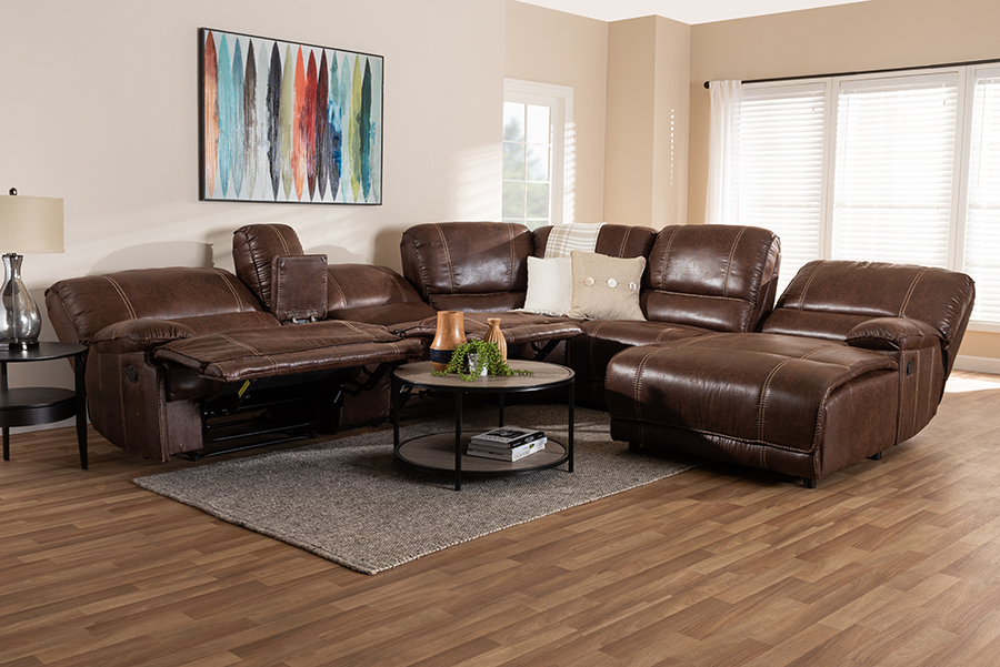 Salomo Brown Faux Leather 6-pc Sectional Recliner Sofa with 3 Reclining Seats   Baxton Studio