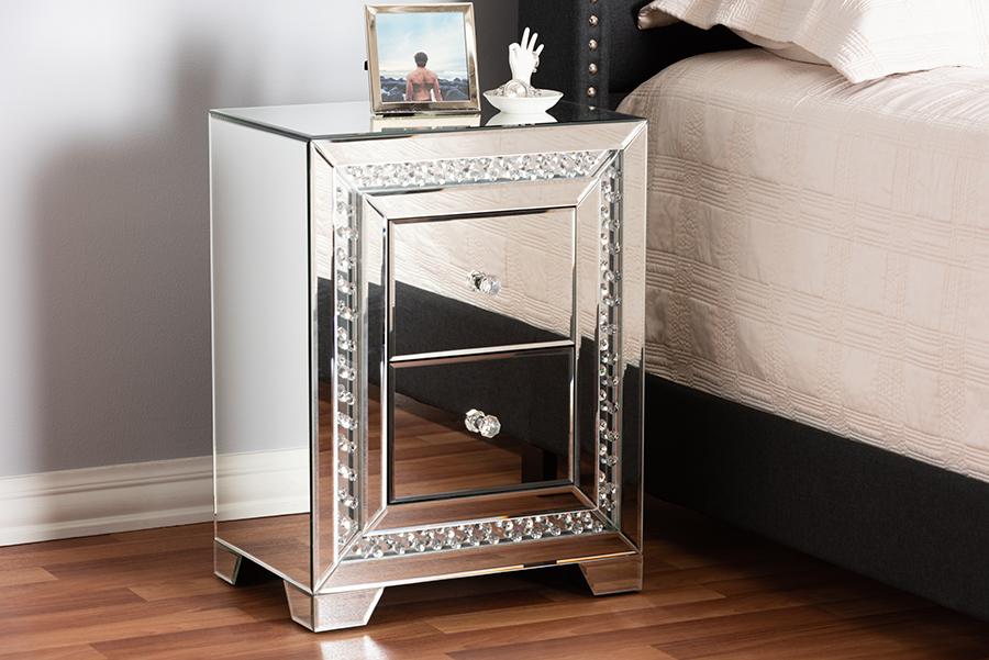 Mina Mirrored Three Drawer Nightstand Bedside Table | Baxton Studio