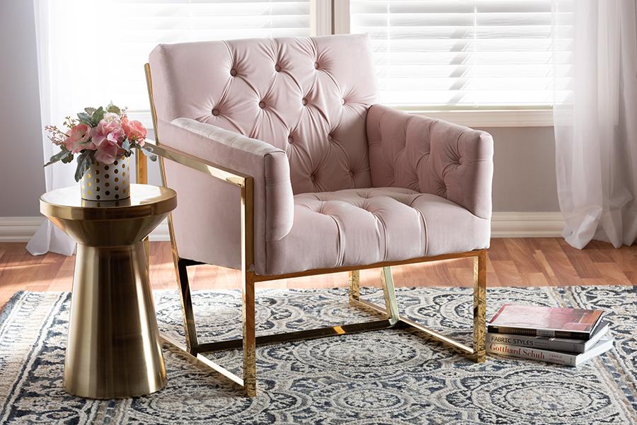 Milano Pink Velvet Fabric Gold Lounge Chair | Baxton Studio
