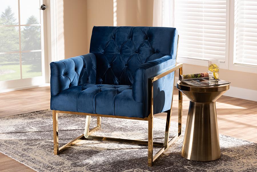 Milano Navy Velvet Fabric Gold Lounge Chair | Baxton Studio