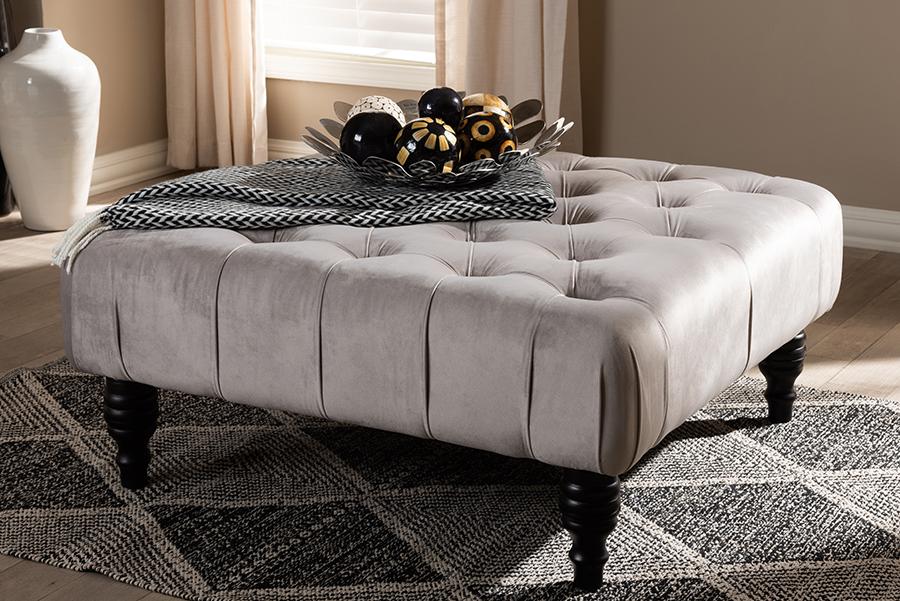 Keswick Grey Velvet Fabric Tufted Cocktail Ottoman | Baxton Studio
