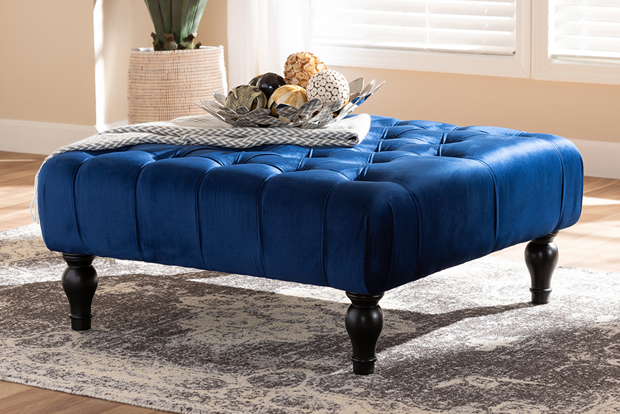 Keswick Blue Velvet Fabric Tufted Cocktail Ottoman | Baxton Studio