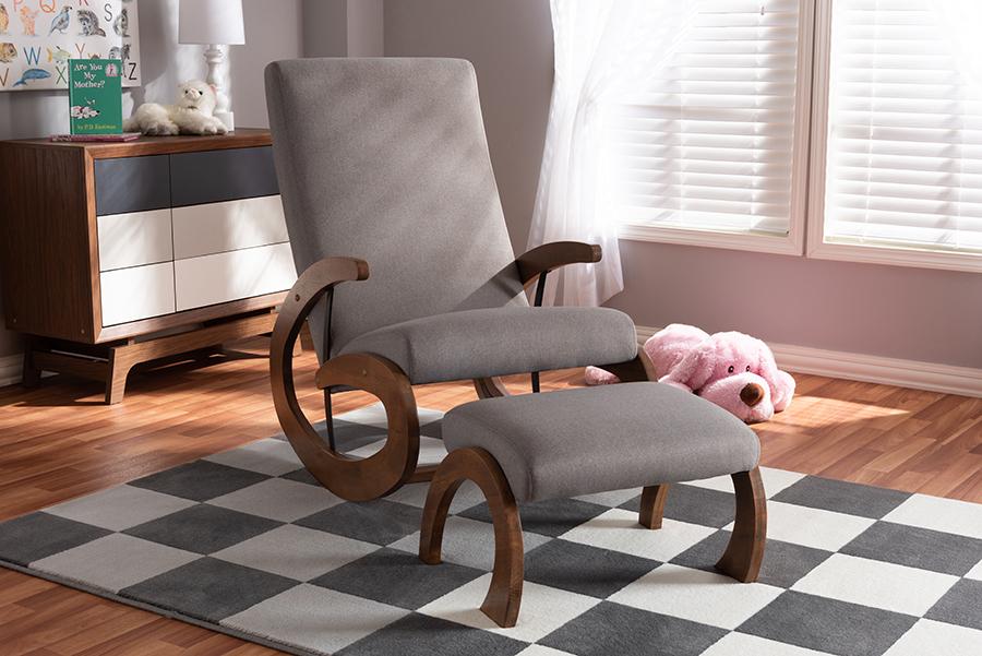 Kaira 2-pc Gray Fabric Walnut Wood Rocking Chair Ottoman Set | Baxton Studio