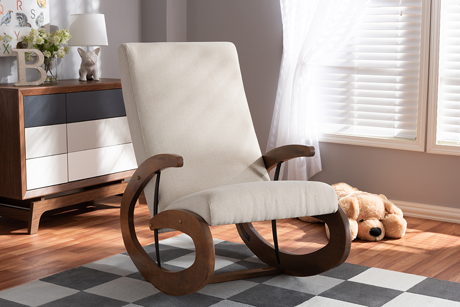 Kaira Light Beige Fabric Walnut Wood Rocking Chair | Baxton Studio
