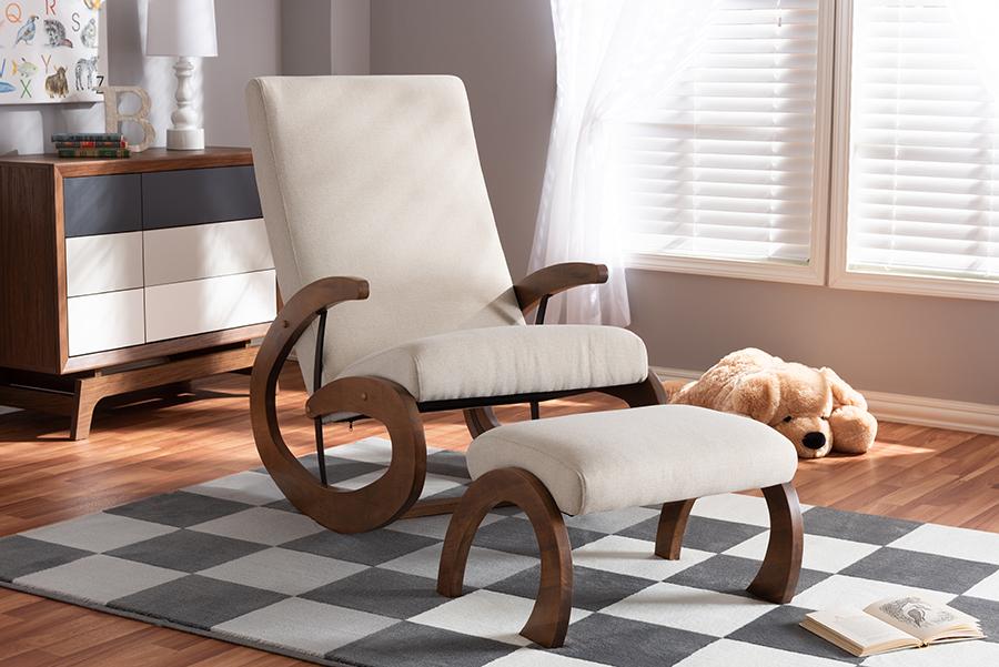Kaira 2-pc Light Beige Fabric Walnut Wood Rocking Chair Ottoman Set   Baxton Studio