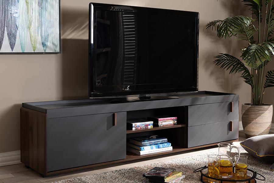 Rikke Gray Walnut Wood 2 Drawer TV Stand | Baxton Studio