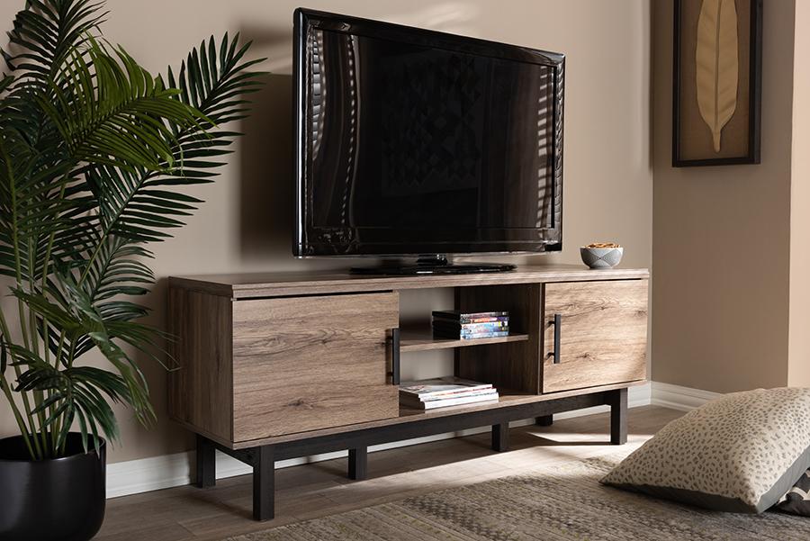 Arend Oak Ebony Wood 2 Door TV Stand | Baxton Studio