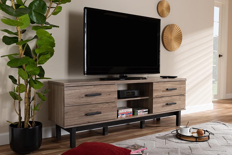 Arend Oak Ebony Wood 4 Drawer TV Stand | Baxton Studio