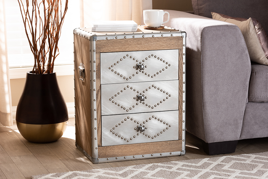Audric Brown Wood Silver Metal 3 Drawer Accent Storage Cabinet | Baxton Studio