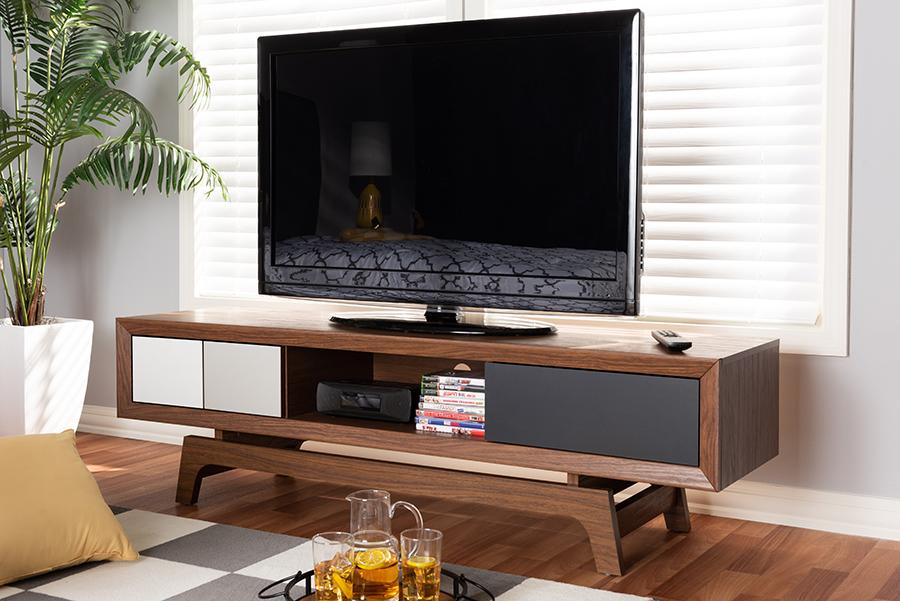 Svante Multicolor Wood 3 Drawer TV Stand | Baxton Studio