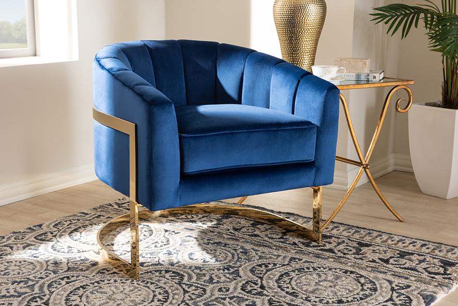 Tomasso Royal Blue Velvet Fabric Gold Lounge Chair | Baxton Studio