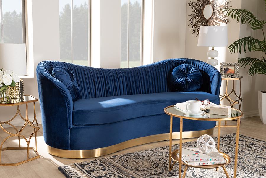 Nevena Royal Blue Velvet Fabric Gold Sofa   Baxton Studio