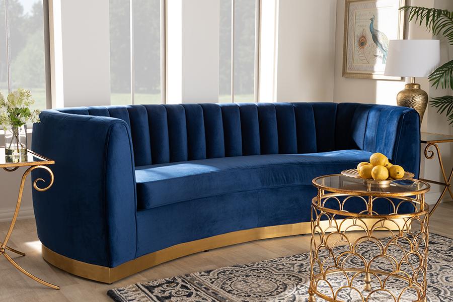 Milena Royal Blue Velvet Fabric Gold Sofa | Baxton Studio