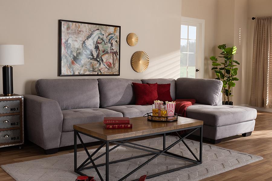 Petra Gray Fabric Right Facing Sectional Sofa | Baxton Studio
