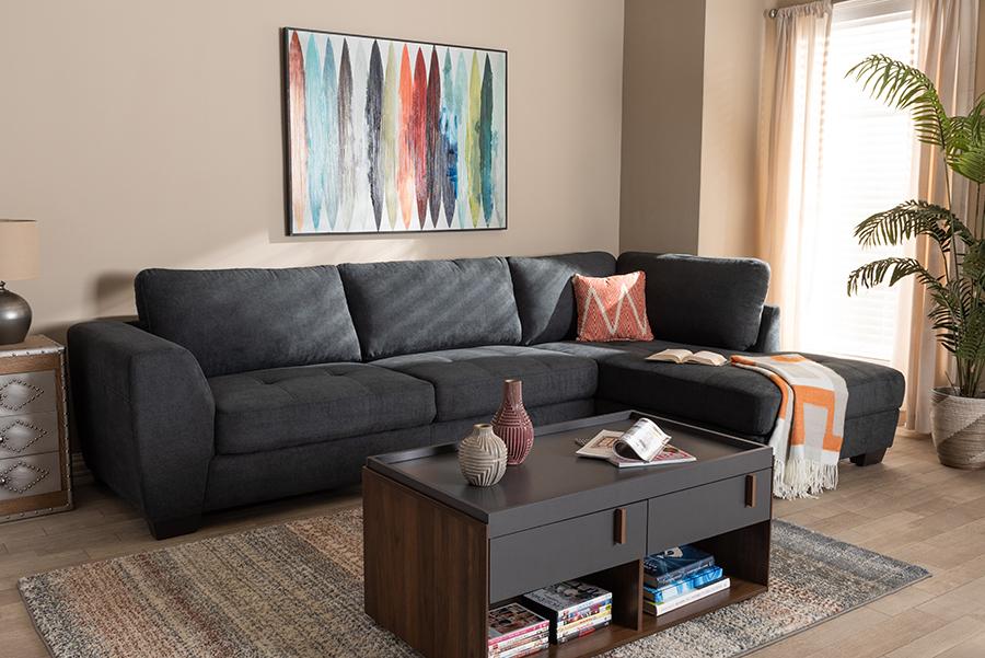 Petra Charcoal Fabric Right Facing Sectional Sofa   Baxton Studio