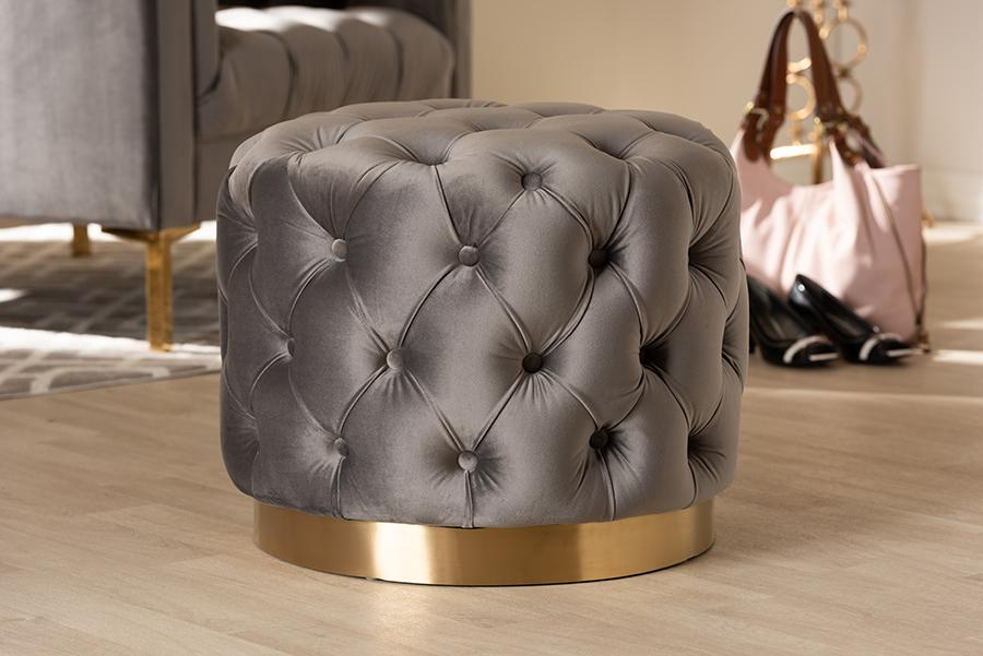 Valeria Gray Velvet Fabric Gold Tufted Ottoman   Baxton Studio