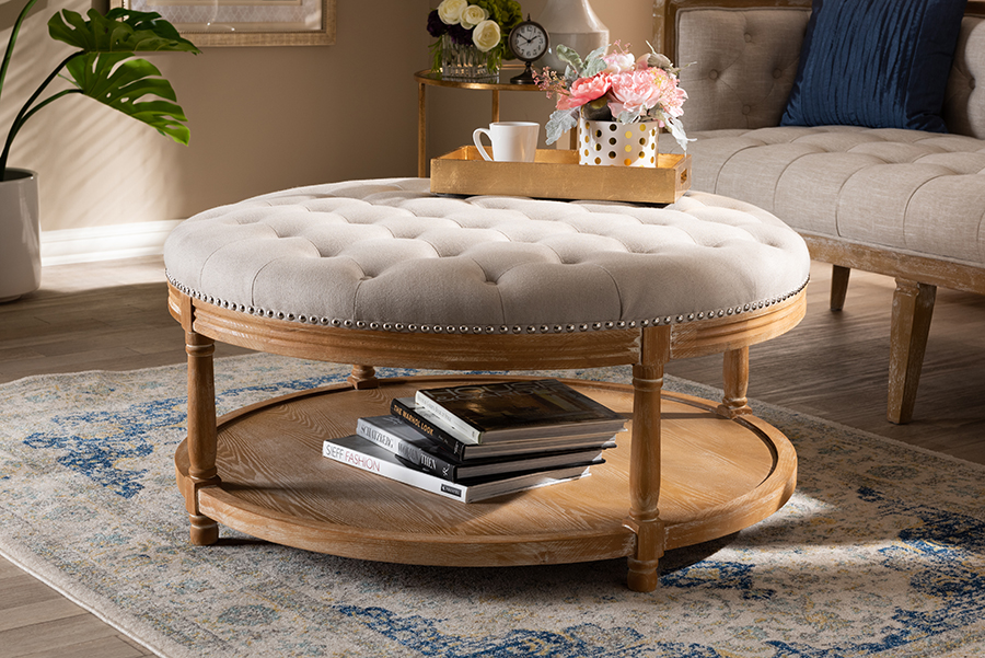 Ambroise Beige Linen Fabric White Washed Oak Wood Tufted Cocktail Ottoman with Shelf | Baxton Studio