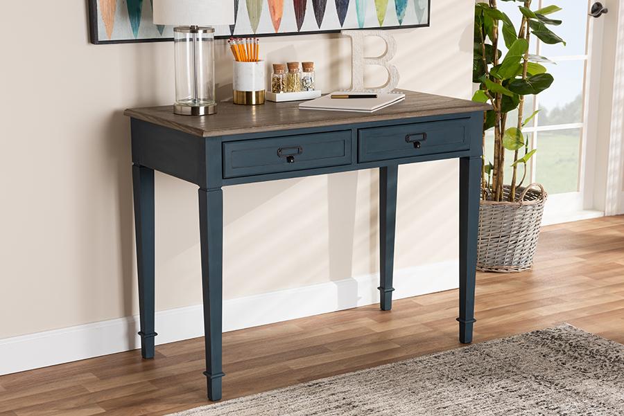 Dauphine Spruce Blue Accent Writing Desk   Baxton Studio