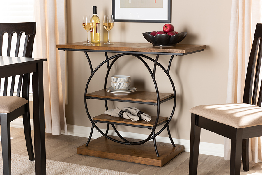 Lavelle Walnut Wood Dark Bronze Metal Circular Console Table   Baxton Studio