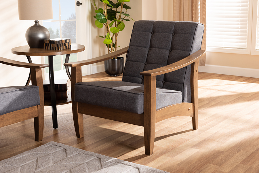 Larsen Gray Fabric Walnut Wood Lounge Chair | Baxton Studio