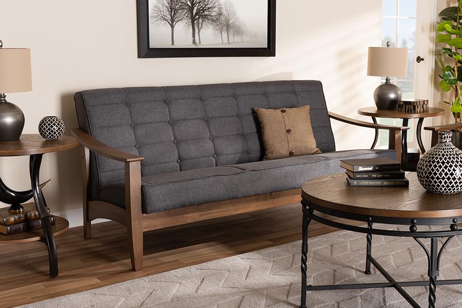 Larsen Gray Fabric Walnut Wood Sofa | Baxton Studio