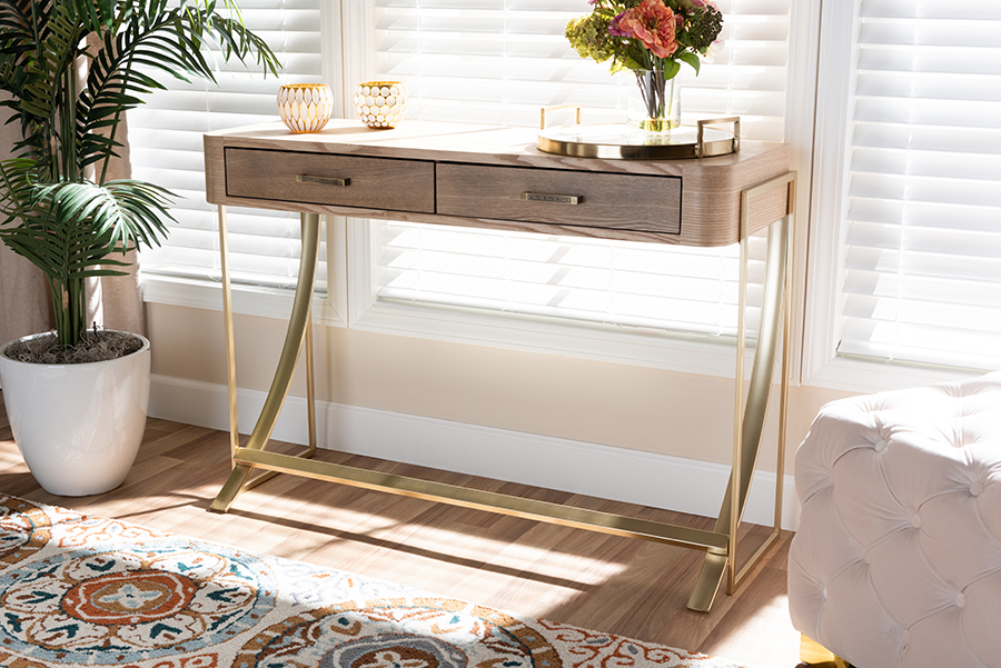 Lafoy Natural Brown Wood Gold 2 Drawer Console Table   Baxton Studio