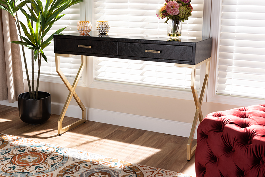 Carville Dark Brown Faux Leather Gold 2 Drawer Console Table   Baxton Studio