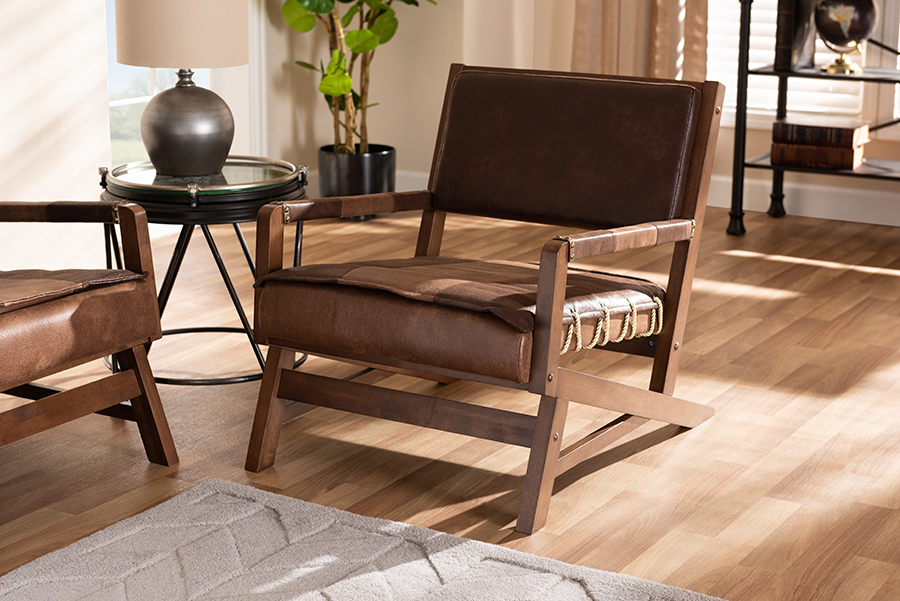 Rovelyn Brown Faux Leather Walnut Wood Lounge Chair | Baxton Studio