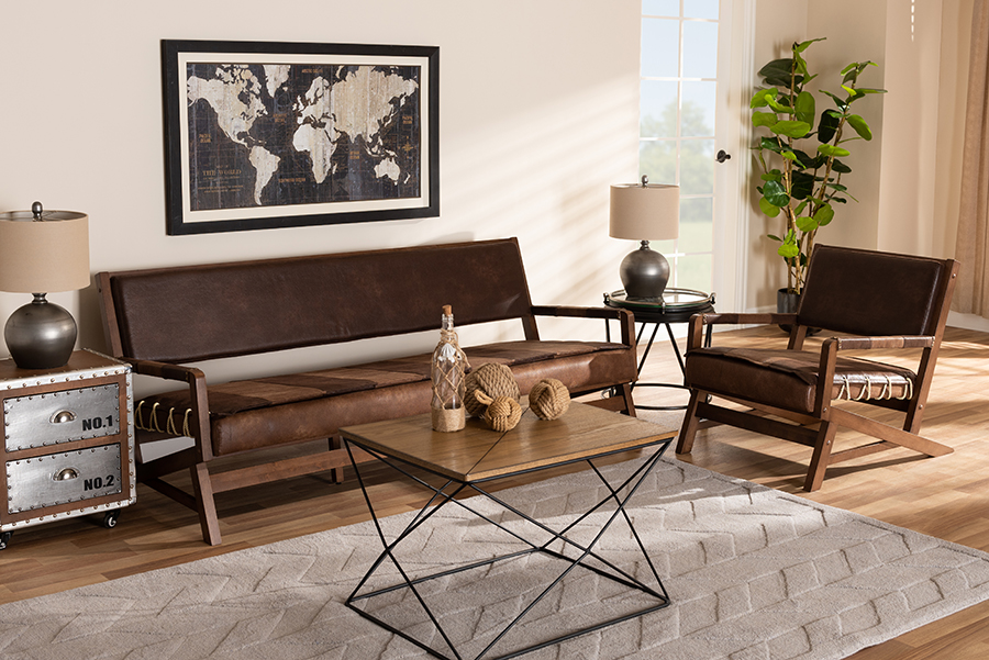 Rovelyn Brown Faux Leather Walnut Wood 2-pc Living Room Set   Baxton Studio
