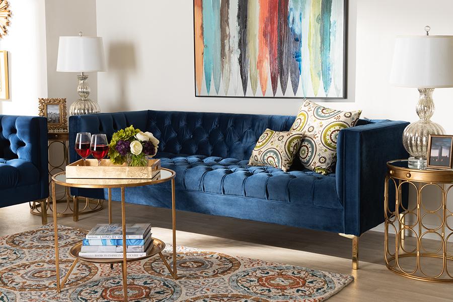 Zanetta Navy Velvet Gold Sofa | Baxton Studio