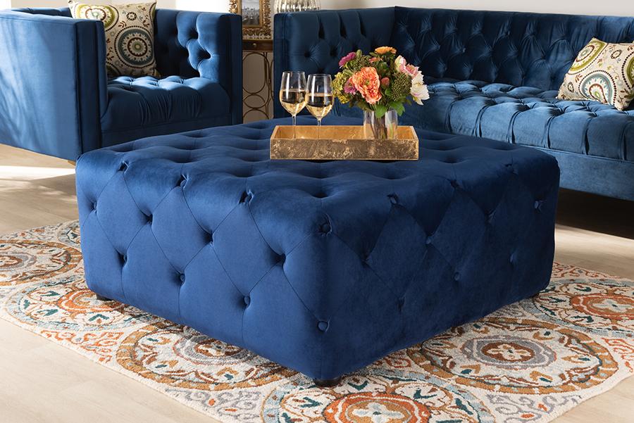 Calvetti Royal Blue Velvet Fabric Tufted Cocktail Ottoman   Baxton Studio