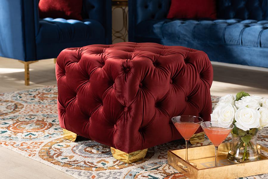 Avara Burgundy Velvet Fabric Gold Tufted Ottoman | Baxton Studio
