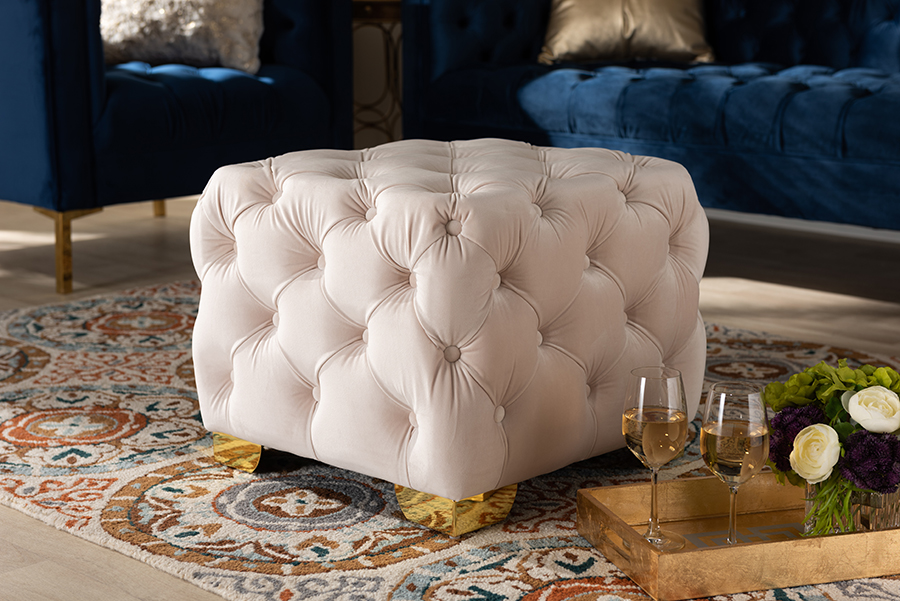 Avara Light Beige Velvet Fabric Gold Tufted Ottoman   Baxton Studio