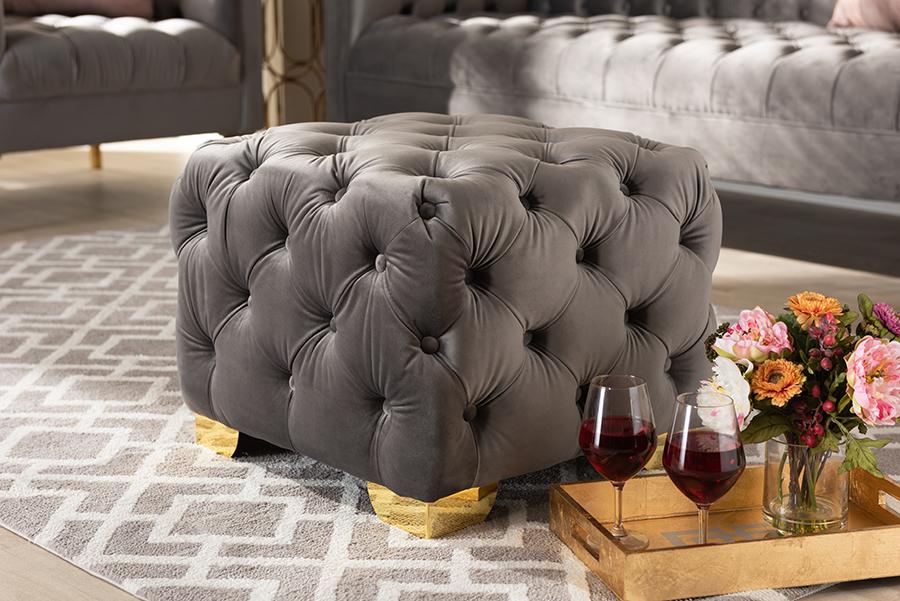 Avara Gray Velvet Fabric Gold Tufted Ottoman   Baxton Studio