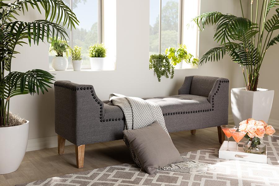 Perret Gray Linen Fabric Oak Brown Wood Bench   Baxton Studio