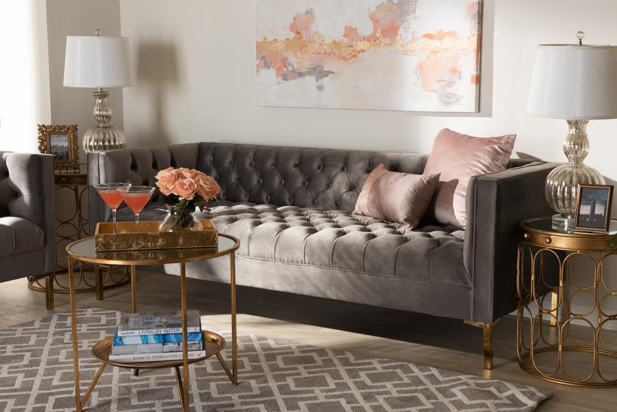 Zanetta Gray Velvet Gold Sofa | Baxton Studio