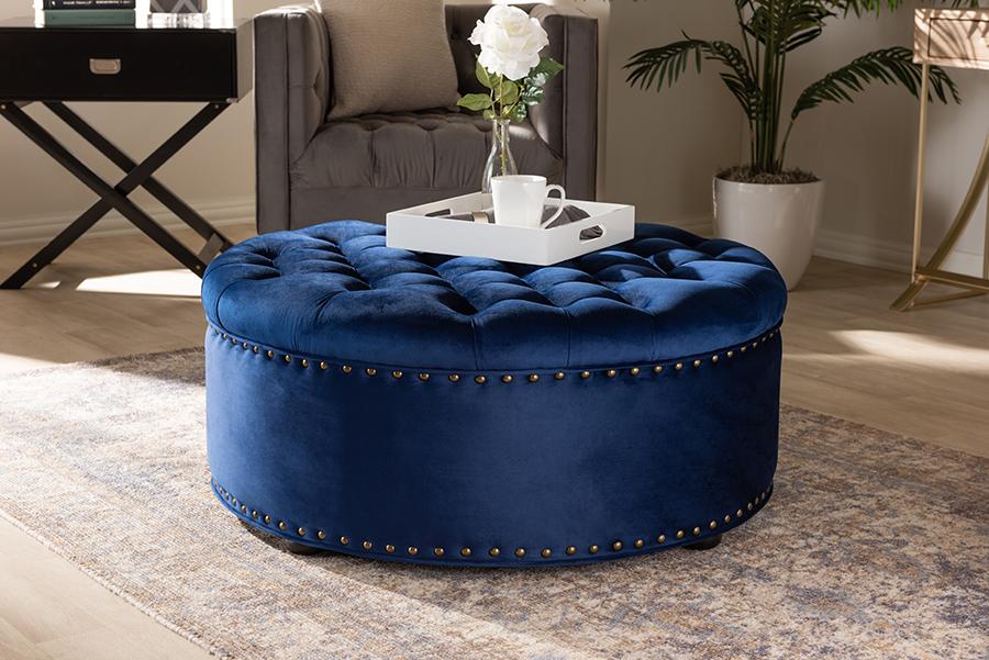 Iglehart Royal Blue Velvet Fabric Tufted Cocktail Ottoman | Baxton Studio
