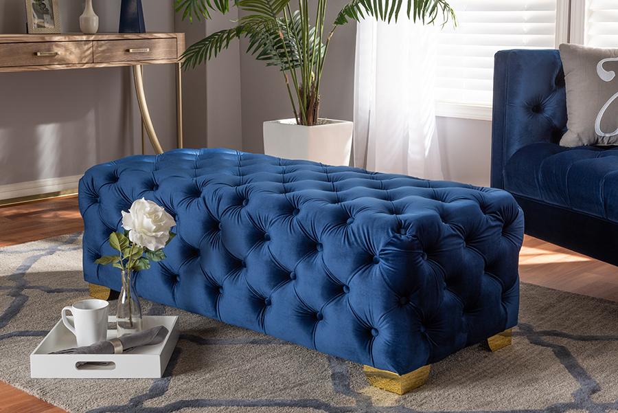 Avara Royal Blue Velvet Fabric Gold Tufted Bench Ottoman | Baxton Studio