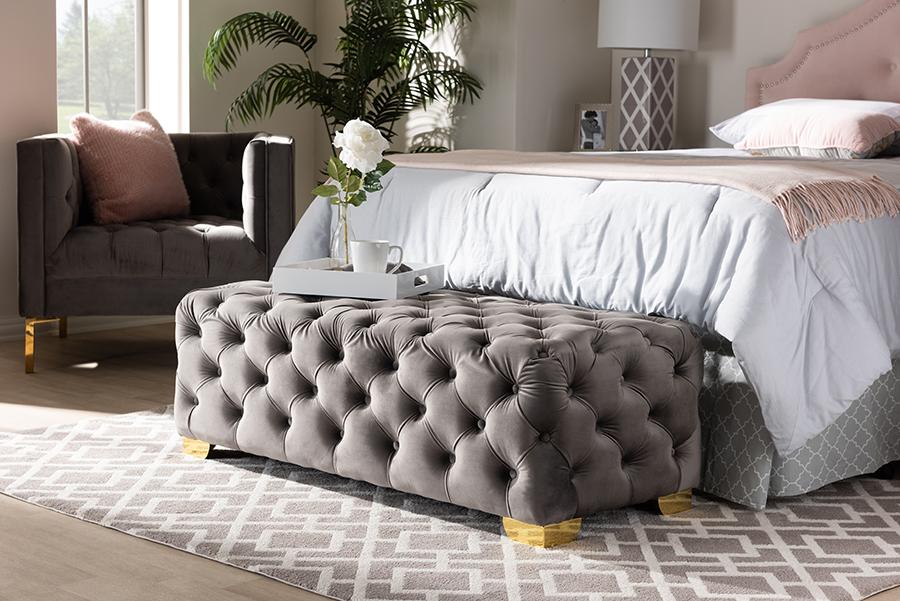 Avara Gray Velvet Fabric Gold Tufted Bench Ottoman | Baxton Studio