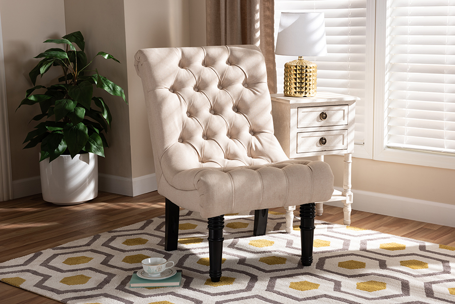 Barthe Beige Fabric Accent Chair with Rolled Back | Baxton Studio