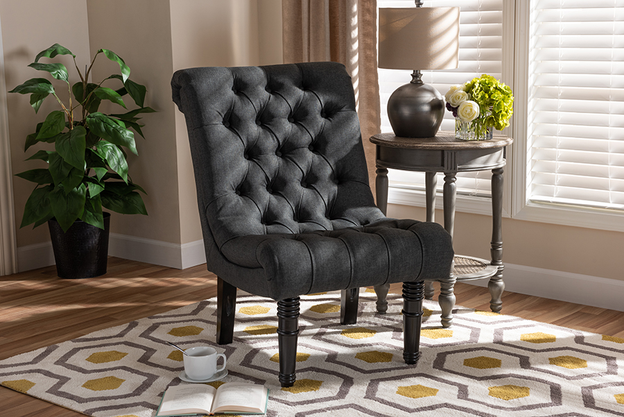 Barthe Gray Fabric Accent Chair with Rolled Back | Baxton Studio