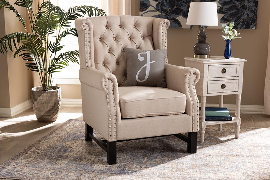 Charrette Beige Fabric Tufted Armchair | Baxton Studio